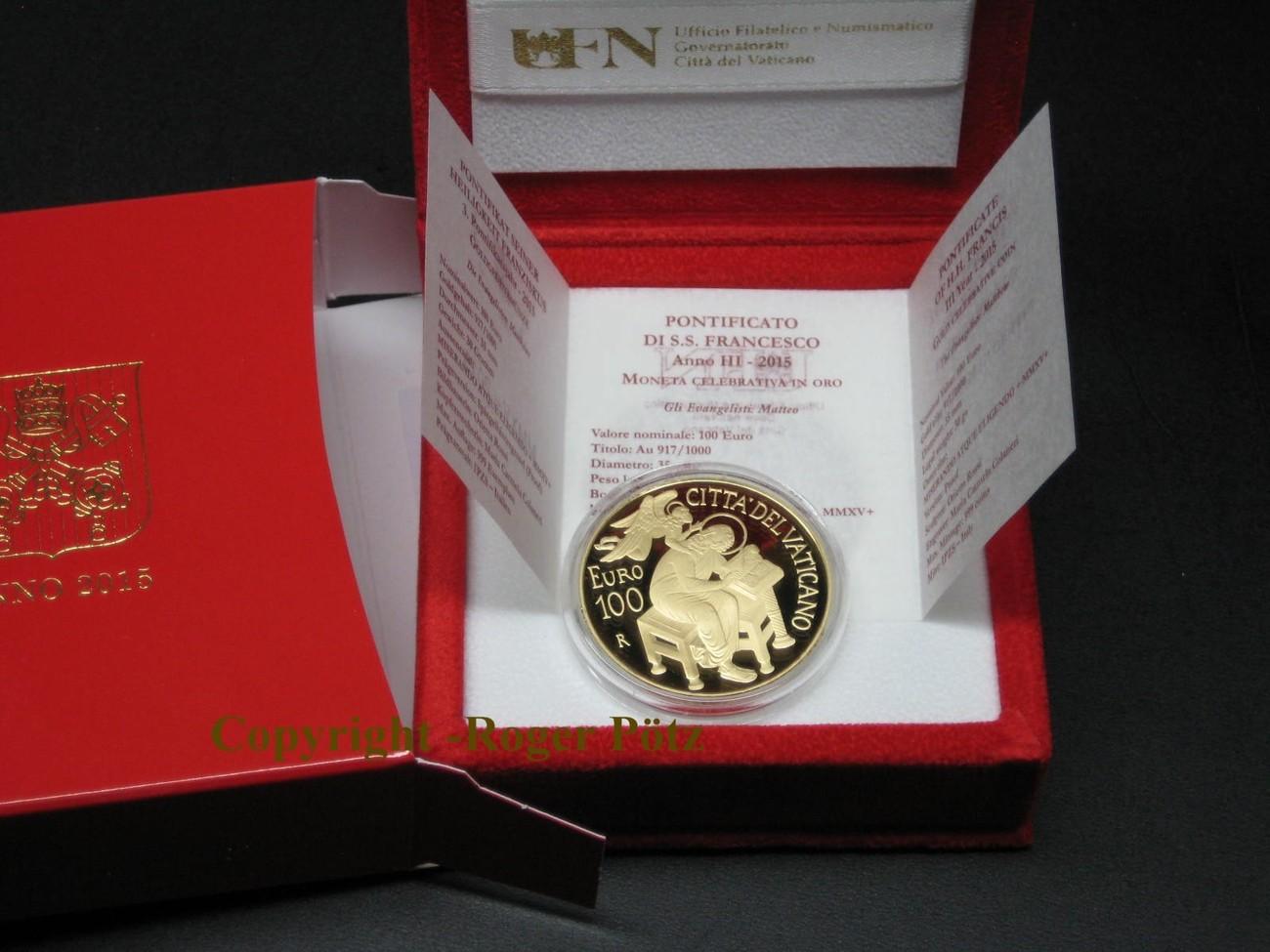 999pp_vatikan 100 euro 2015 die evangelistgen matthus gold pp nur 999